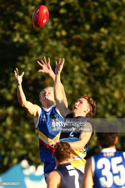 Jaidyn Stephenson of the Ranges marks the ball during the round seven TAC Cup match between the Eastern Ranges and the Bendigo Pioneers at Box Hill...