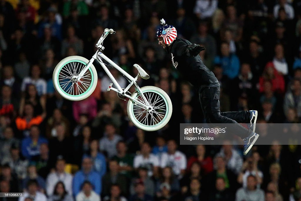 Jaie Toohey performs a BMX trick during Nitro Circus Live at Westpac Stadium on February 9, 2013 in Wellington, New Zealand.