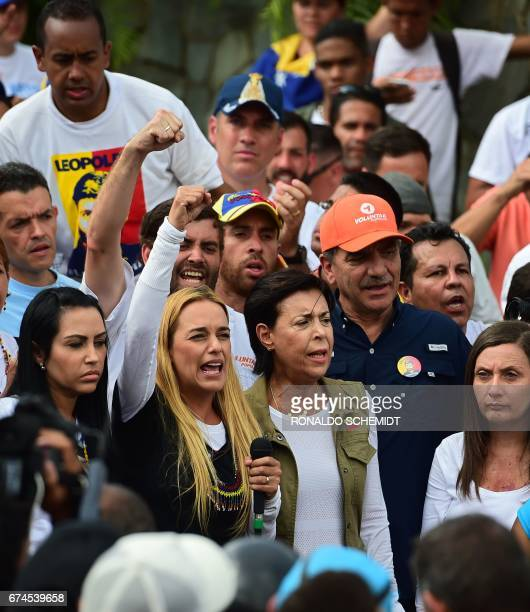 Jailed opposition leader Leopoldo Lopez's wife Lilian Tintori and mother Antonieta Mendoza de Lopez and other activists are stopped by the National...