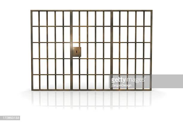 Jailhouse bars against a white background
