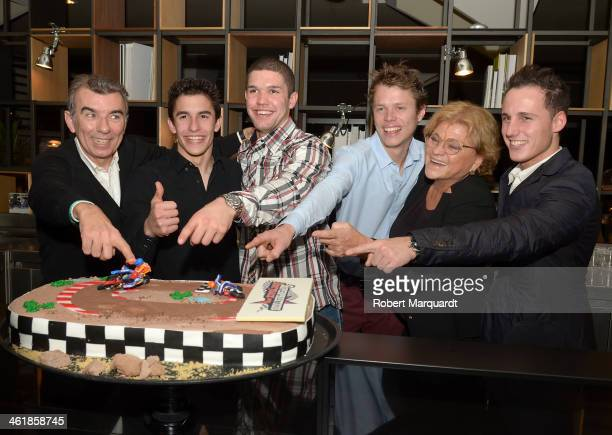 Jaime Alguersuari Marc Marquez Brad Baker Tito Rabat Guest and Pol Espargaro attend an after party for 'Superprestigio Dirt Track 2014' held at the...