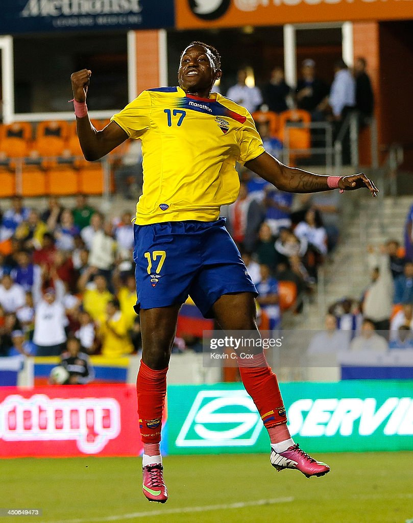 Jaime Ayoví #17 of Ecuador celebrates scoring a goal on Honduras during an international friendly match at BBVA Compass Stadium on November 19, 2013 in Houston, Texas.