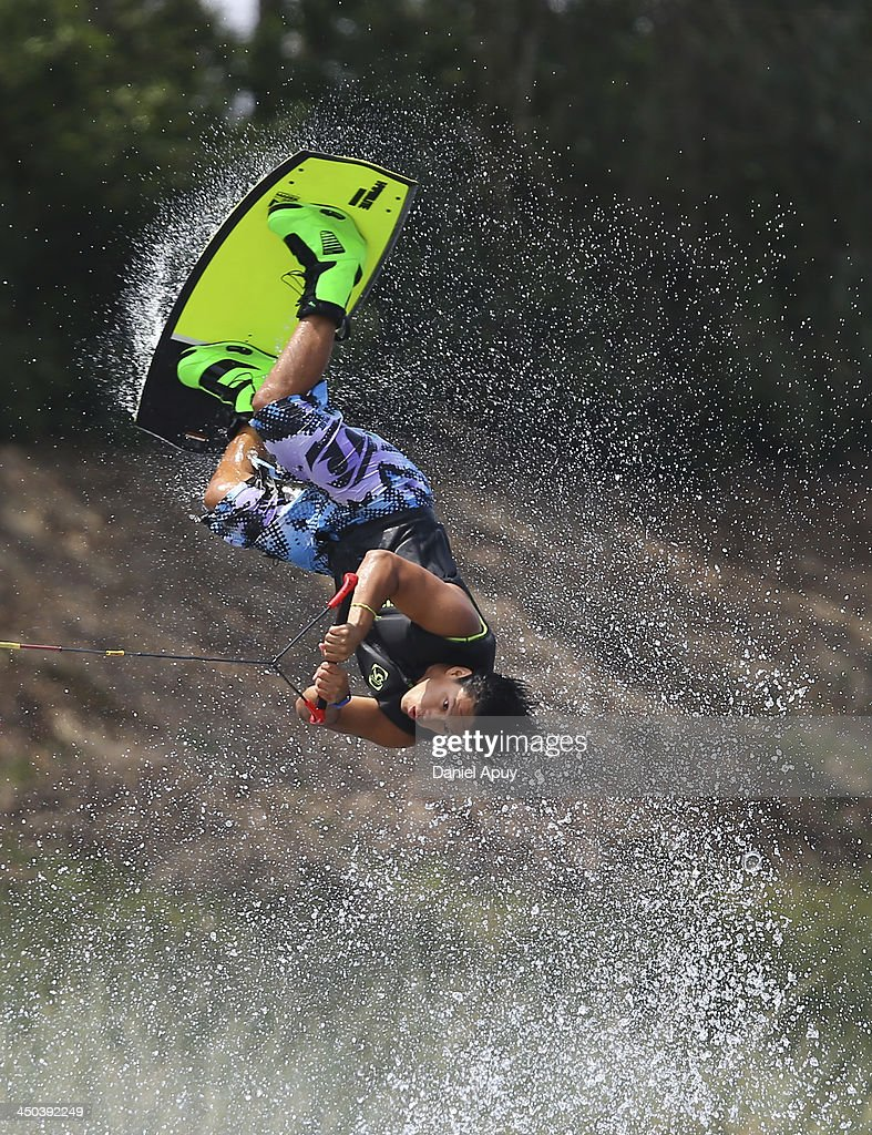 Jaime Bazan of Ecuador during the Water Skiing Wakeboard Men Final event as part of the XVII Bolivarian Games Trujillo 2013 at Laguna de Bujama on November 18, 2013 in Lima, Peru.