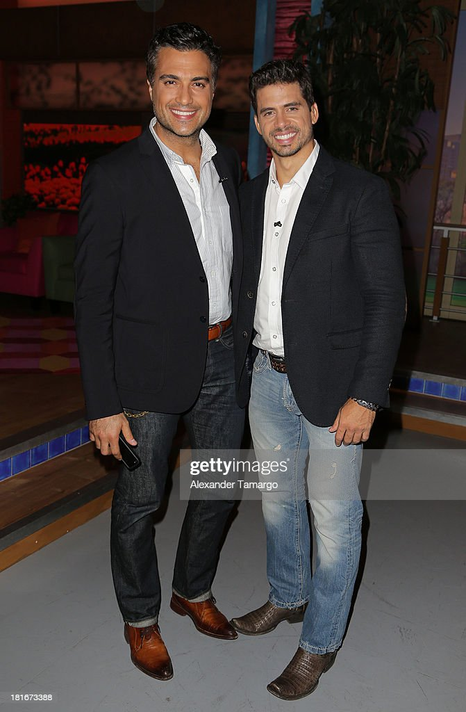 <a gi-track='captionPersonalityLinkClicked' href=/galleries/search?phrase=Jaime+Camil&family=editorial&specificpeople=580441 ng-click='$event.stopPropagation()'>Jaime Camil</a> and Pedro Moreno are seen on the set of Univision's 'Despierta America' morning show at Univision Headquarters on September 23, 2013 in Miami, Florida.