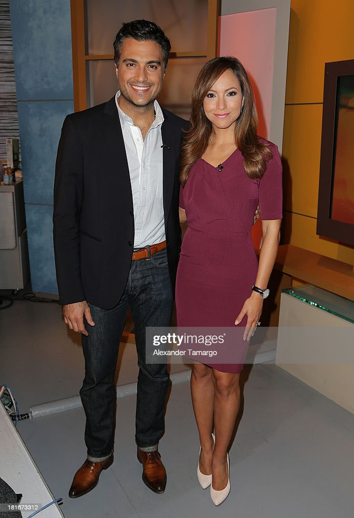 <a gi-track='captionPersonalityLinkClicked' href=/galleries/search?phrase=Jaime+Camil&family=editorial&specificpeople=580441 ng-click='$event.stopPropagation()'>Jaime Camil</a> and <a gi-track='captionPersonalityLinkClicked' href=/galleries/search?phrase=Satcha+Pretto&family=editorial&specificpeople=2473723 ng-click='$event.stopPropagation()'>Satcha Pretto</a> are seen on the set of Univision's 'Despierta America' morning show at Univision Headquarters on September 23, 2013 in Miami, Florida.