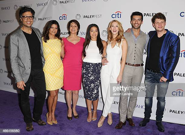 Jaime Camil Andrea Navedo Ivonne Coll Gina Rodriguez Yael Grobglas Justin Baldoni and Brett Dier attend the 'Jane The Virgin' event at the 32nd...