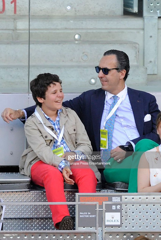 Jaime de Marichalar and his son Felipe Juan Froilan Marichalar attend the Mutua Madrid Open tennis tournament at La Caja Magica on May 12, 2013 in Madrid, Spain.