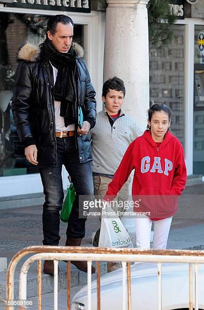 Jaime de Marichalar his daughter Victoria Federica Marichalar and his son Felipe Juan Froilan Marichalar are seen on January 3 2013 in Madrid Spain