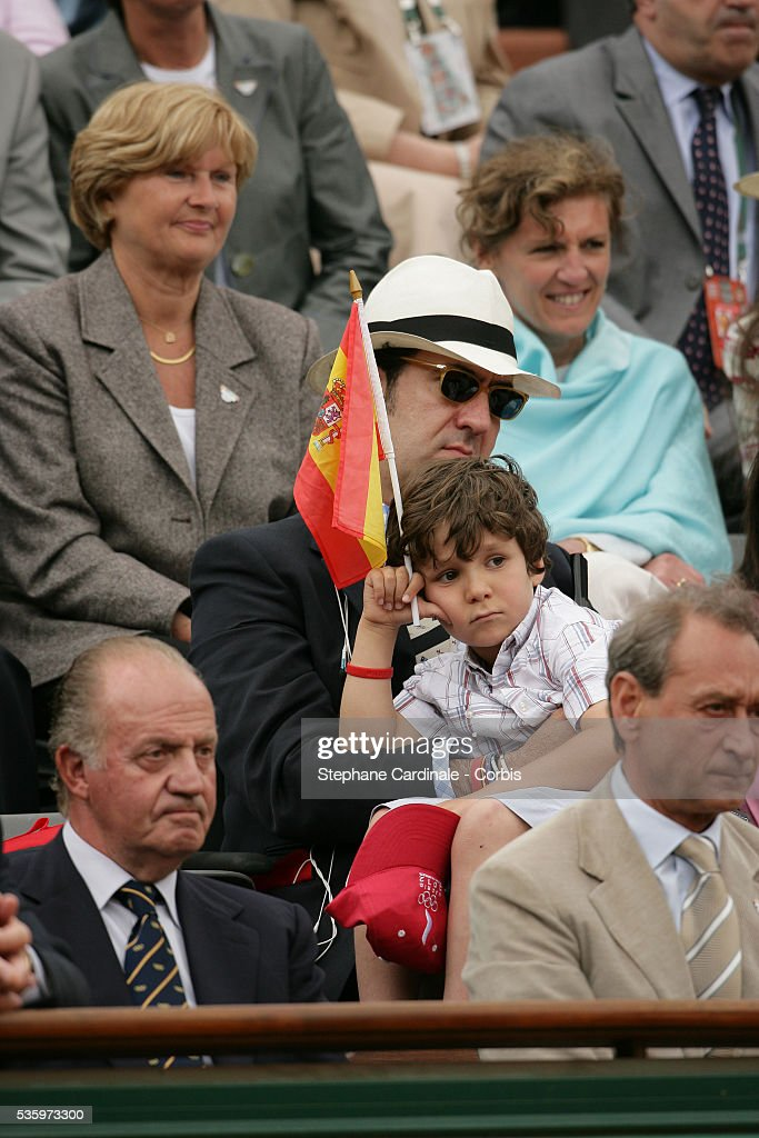 HRH Jaime de Marichalar with his son, HRH Juan Carlos of Spain and Bertrand Delanoe during the French Open Mens Final at Roland Garros, Paris, France. Nadal won 6-7, 6-3, 6-1, 7-5.