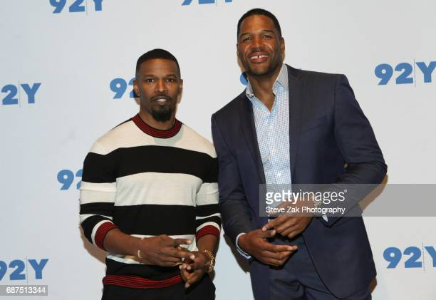Jaime Foxx and Michael Strahan attend 92Y presents Jamie Foxx In Conversation with Michael Strahan at Kaufman Concert Hall on May 23 2017 in New York...