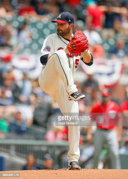 Jaime Garcia of the Atlanta Braves delivers the pitch in the first inning of an MLB game against the Washington Nationals at SunTrust Park on May 21...