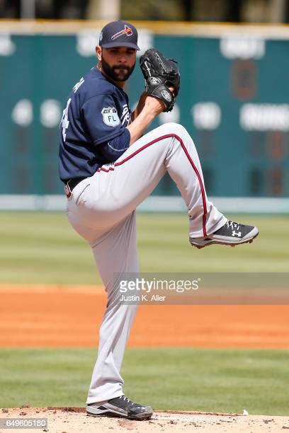Jaime Garcia of the Atlanta Braves in action against the Pittsburgh Pirates on March 7 2017 at LECOM Park in Bradenton Florida