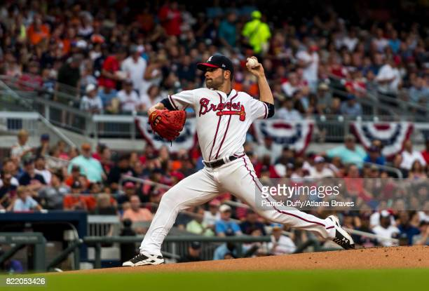 Jaime Garcia of the Atlanta Braves pitches against the Houston Astros at SunTrust Park on July 5 2017 in Atlanta Georgia The Astros won 104