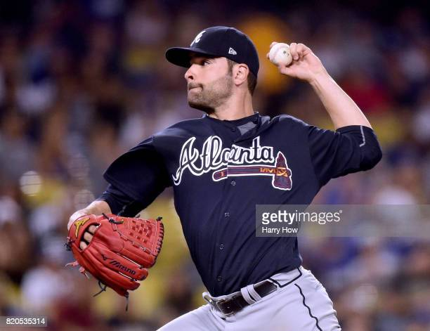 Jaime Garcia of the Atlanta Braves pitches against the Los Angeles Dodgers during the seventh inning at Dodger Stadium on July 21 2017 in Los Angeles...