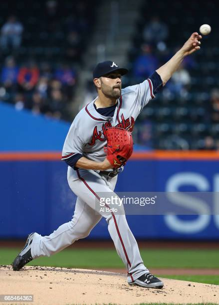 Jaime Garcia of the Atlanta Braves pitches against the New York Mets during their game at Citi Field on April 6 2017 in New York City