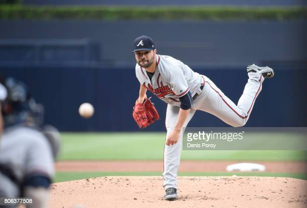 Jaime Garcia of the Atlanta Braves pitches during a baseball game against the San Diego Padres at PETCO Park on June 29 2017 in San Diego California