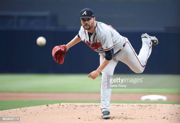 Jaime Garcia of the Atlanta Braves pitches during the first inning of a baseball game against the San Diego Padres at PETCO Park on June 29 2017 in...