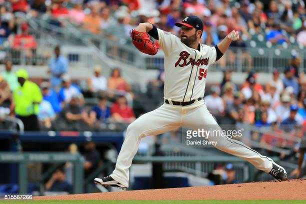 Jaime Garcia of the Atlanta Braves pitches during the first inning against the Arizona Diamondbacks at SunTrust Park on July 16 2017 in Atlanta...