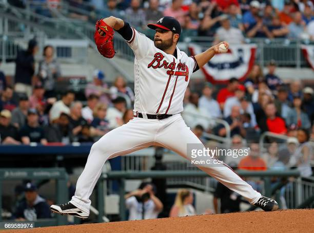 Jaime Garcia of the Atlanta Braves pitches in the first inning against the San Diego Padres at SunTrust Park on April 17 2017 in Atlanta Georgia