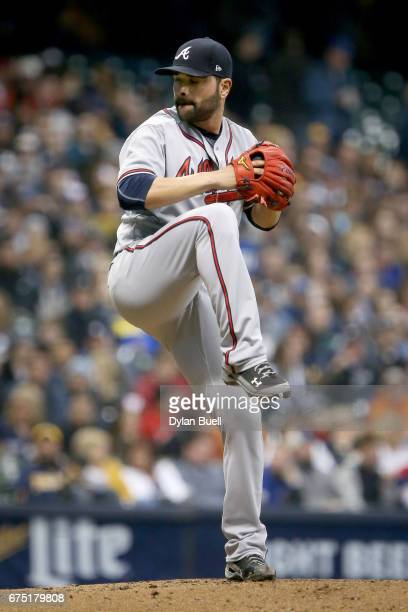 Jaime Garcia of the Atlanta Braves pitches in the first inning against the Milwaukee Brewers at Miller Park on April 29 2017 in Milwaukee Wisconsin