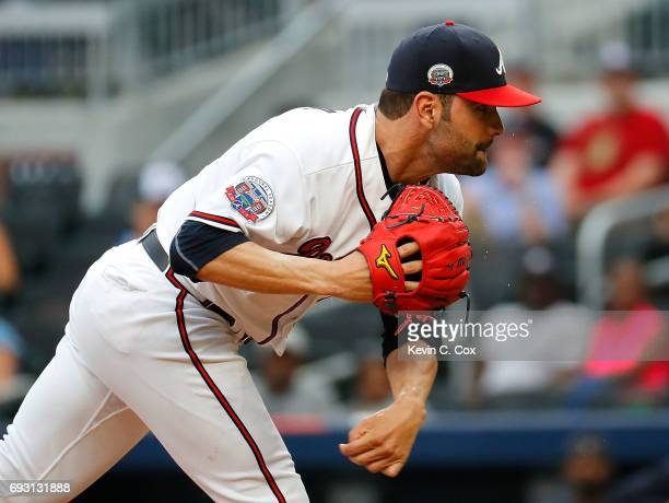 Jaime Garcia of the Atlanta Braves pitches in the first inning against the Philadelphia Phillies at SunTrust Park on June 6 2017 in Atlanta Georgia