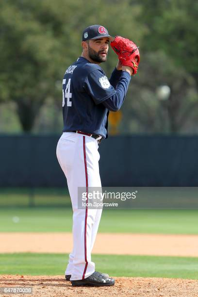 Jaime Garcia of the Braves on the mound during the spring training game between the St Louis Cardinals and the Atlanta Braves on February 28 2017 at...