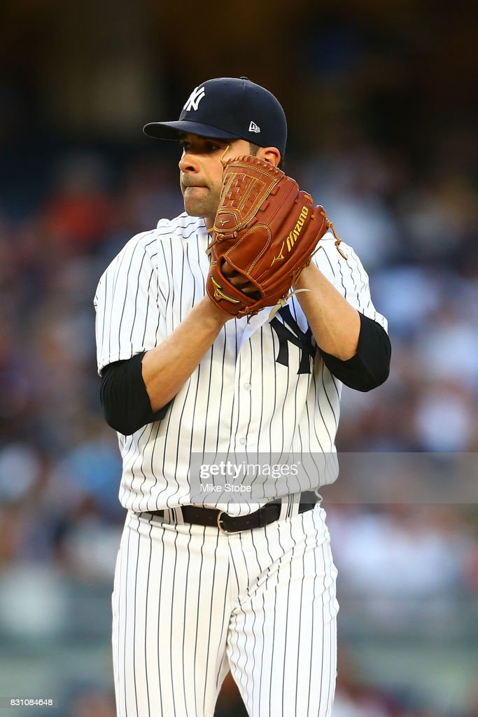 Jaime Garcia #34 of the New York Yankees in action against the Boston Red Sox at Yankee Stadium on August 11, 2017 in the Bronx borough of New York City. New York Yankees defeated the Boston Red Sox 5-4.