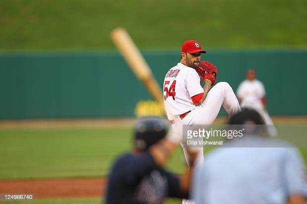 Jaime Garcia of the St Louis Cardinals pitches against the Atlanta Braves at Busch Stadium on September 10 2011 in St Louis Missouri