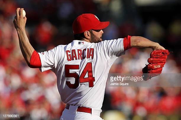 Jaime Garcia of the St Louis Cardinals throws a pitch against the Philadelphia Phillies during Game Three of the National League Division Series at...
