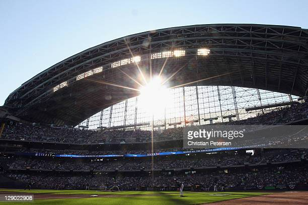 Jaime Garcia of the St Louis Cardinals throws a pitch against the Milwaukee Brewers during Game one of the National League Championship Series at...