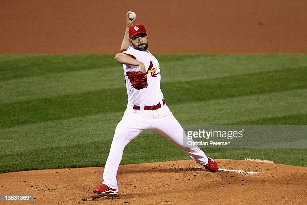 Jaime Garcia of the St Louis Cardinals throws a pitch against the Milwaukee Brewers during Game Five of the National League Championship Series at...