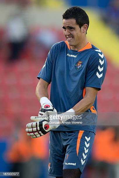 Jaime Jimenez Merlo of Real Valladolid CF attach his gloves during his warming up prior to start the La Liga match between Levante UD and Real...