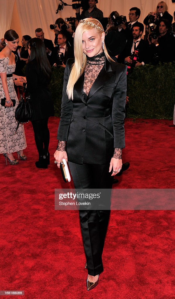 Jaime King, wearing custom Topshop, attends the Costume Institute Gala for the 'PUNK: Chaos to Couture' exhibition at the Metropolitan Museum of Art on May 6, 2013 in New York City.