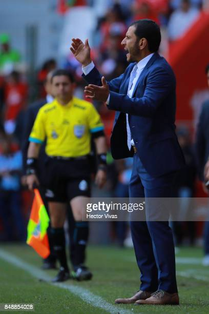 Jaime Lozano coach of Queretaro gestures during the 9th round match between Toluca and Queretaro as part of the Torneo Apertura 2017 Liga MX at...