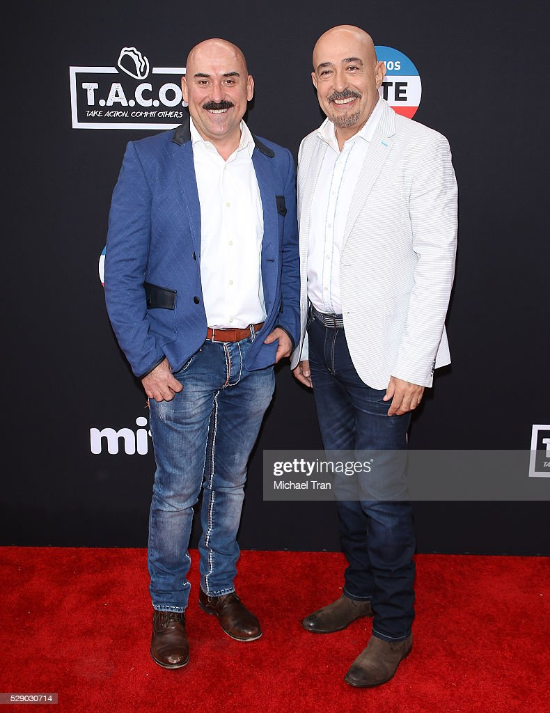 Jaime Martin Del Campo (R) and Ramiro Arvizu arrive at The National T.A.C.O. Challenge held at LA Plaza de Cultura y Artes on May 7, 2016 in Los Angeles, California.