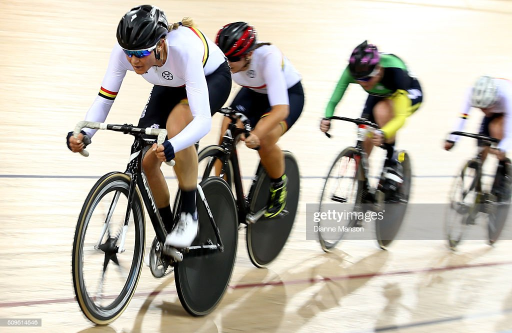 Jaime Nielsen of Waikato Bay of Plenty competes in the Elite Women 20k Points Race final during the New Zealand Track National Championships on February 11, 2016 in Cambridge, New Zealand.