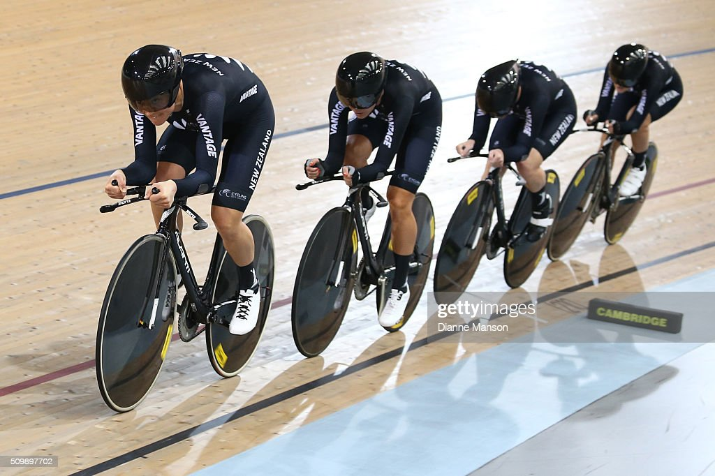 Jaime Nielsen, Rushlee Buchanan, Lauren Ellis and Georgia Williams of New Zealand during a 4000m Team Pursuit time trial at the New Zealand Track National Championships on February 13, 2016 in Cambridge, New Zealand.