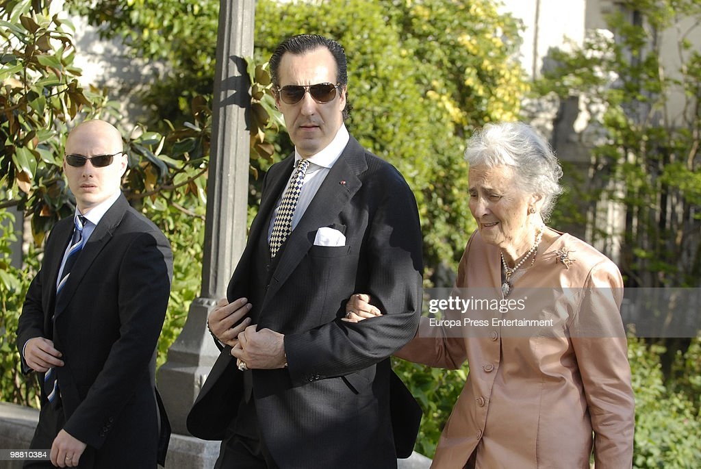 Jaime of Marichalar and his mother Countess of Ripalda ConcepcionSaenz de Tejada attend the wedding of Pepito Marquez y Gonzalez de Gregorio Duchess...