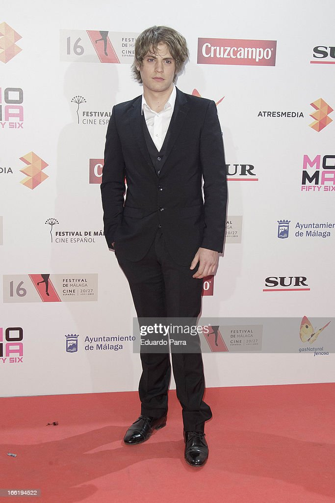 Jaime Olias attends Malaga Film Festival party photocall at MOMA 56 disco on April 9, 2013 in Madrid, Spain.