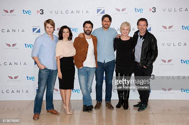 Jaime Olias Silvia Abril Miquel Fernandez Jose Skaf Ana Wagener and Gines Garcia Millan attend 'Vulcania' photocal at Cines Princesa on February 29...