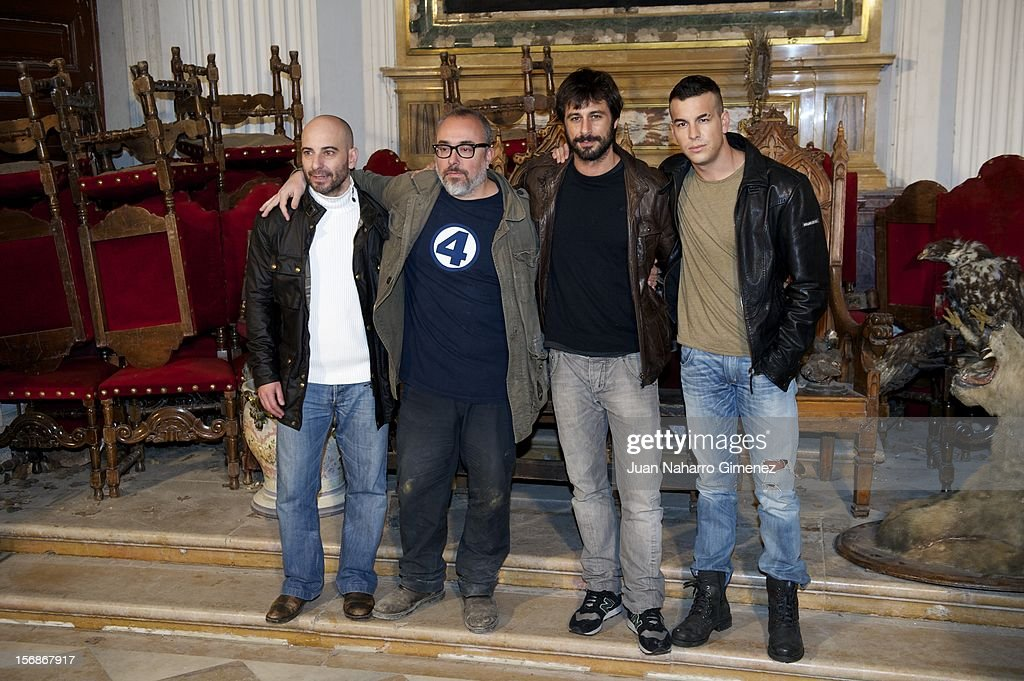 Jaime Ordonez, Alex de la Iglesia, Hugo Silva and Mario Casas attend 'Las Brujas de Zugarramurdi' on set filming at Palacio del Infante Don Luis on November 23, 2012 in Madrid, Spain.