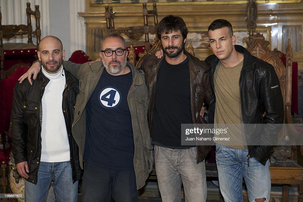 Jaime Ordonez, Alex de la Iglesia, Hugo Silva and Mario Casas attend 'Las Brujas de Zugarramurdi' on set filming at Palacio del Infante Don Luis on November 23, 2012 in Madrid, Spain.