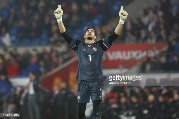 Jaime Penedo of Panama celebrates his sides first goal of the match during the International Friendly match between Wales and Panama at The Cardiff...