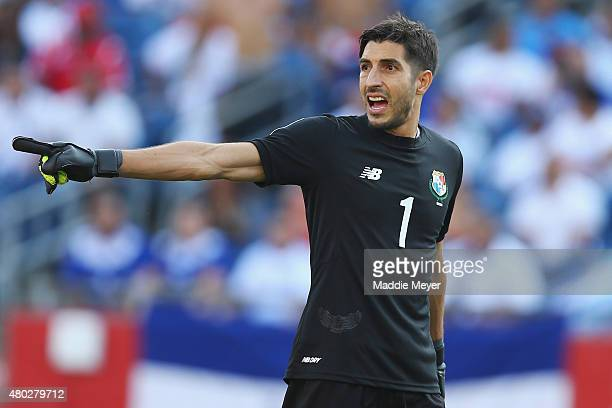 Jaime Penedo of Panama directs his team during the 2015 CONCACAF Gold Cup match between Honduras and Panama at Gillette Stadium on July 10 2015 in...