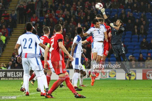 Jaime Penedo of Panama punches the ball away from the box during the corner during the International Friendly match between Wales and Panama at The...