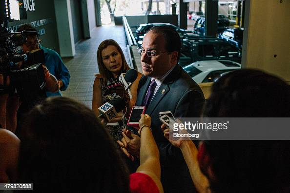 Jaime Perello speaker of Puerto Rico's House of Representatives speaks to members of the media as he arrives at the Government Development Bank for...