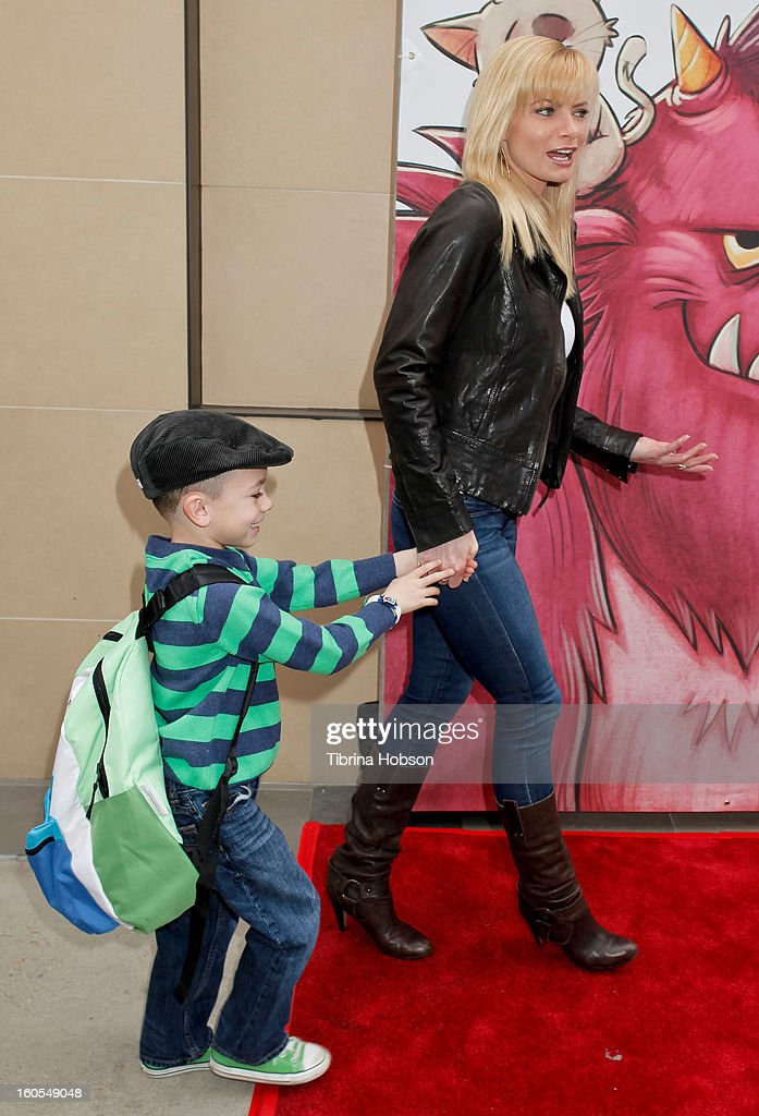 Jaime Pressly and her son Dezi James Calvo attend Stan Lee's 'Kids Universe' book label launch at Giggles 'N' Hugs on February 2, 2013 in Century City, California.