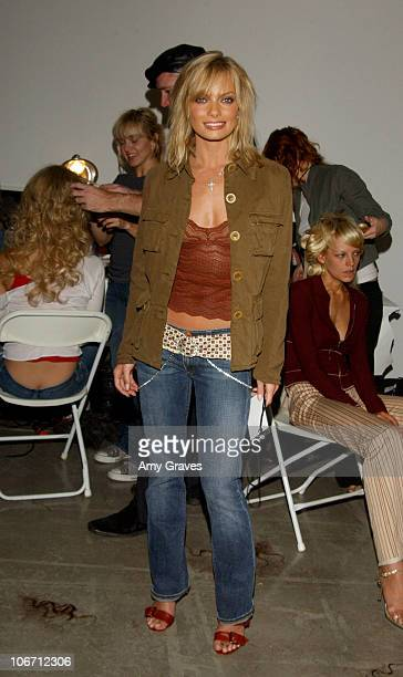Jaime Pressly during 2003 Smashbox Fashion Week Los Angeles Jennifer Nicholson Spring Collection 2004 Backstage at Smashbox in Culver City California...