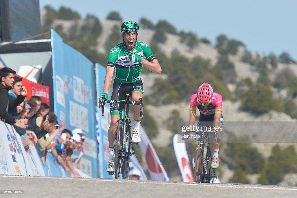 Jaime Roson Garcia, a Spanish rider from Caja Rural-Seguros Rga crosses the finish line on the first position ahead of Polish Przemyslaw Niemiec from Lampre-Merida team, during the six stage of the 52nd Presidential Tour of Turkey 2016, the 117 km from Kumluca to Elmali. On Friday, 29 April 2016, in Elmali, Turkey.