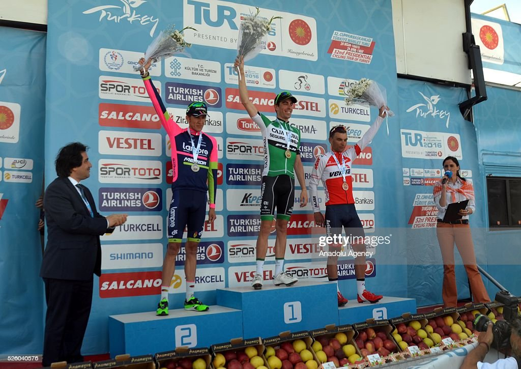 Jaime Roson Garcia (C) of Caja Rural-Seguros RGA, Przemyslaw Niemiec (2nd L) of Lampre-Merida and Pawel Cieslik (2nd R) of Verva Activejet Pro Cycling Team celebrate on the podium after the Kumluca-Elmal lap on the 6th stage of the 52nd Presidential Cycling Tour of Turkey in Antalya, Turkey on April 29, 2016.